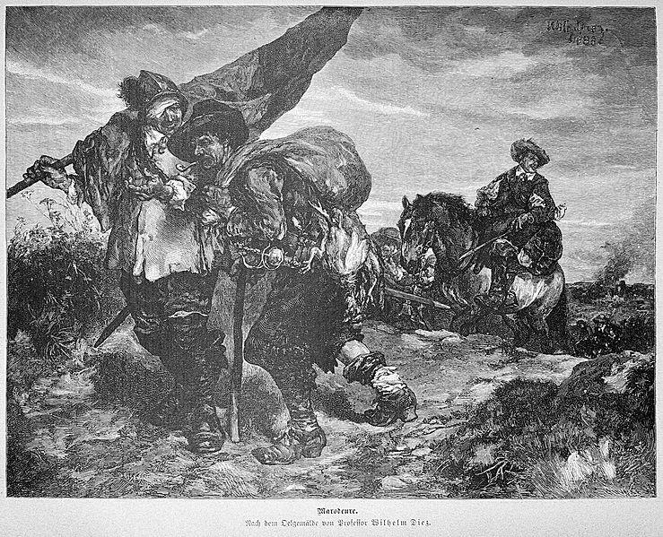 Marodeure. Stahlstich aus der 'Gartenlaube' (1887). Gemeinfrei, Wikimedia Commons