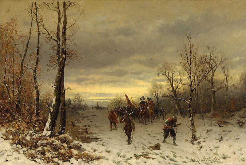 Josef F. Heydendahl (1844–1906): Szene aus dem dreißigjährigem Krieg. Public Domain, wikimedia commons