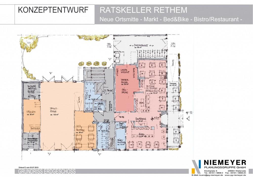 Erdgeschoss: Marktbereich, Restauration und Empfang / Bild: EGRA
