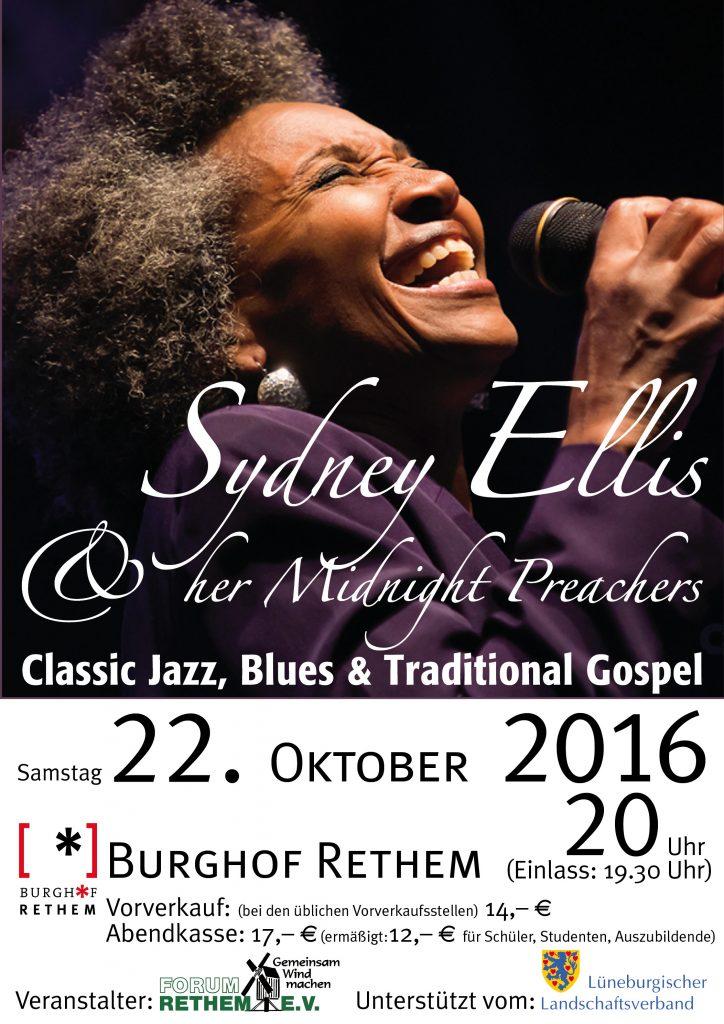 Sydney Ellis - Plakat zum Konzert